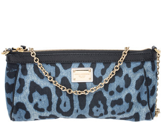 Dolce & Gabbana Blue/Black Leopard Print Denim Chain Shoulder Bag
