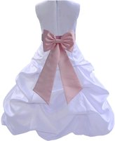 ekidsbridal Wedding Pageant Bridesmaids Party Formal Satin White Flower Girl Dress 808t