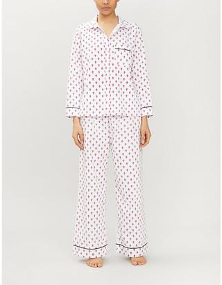 POUR LES FEMMES Fleur-de-lis-print cotton pyjama set