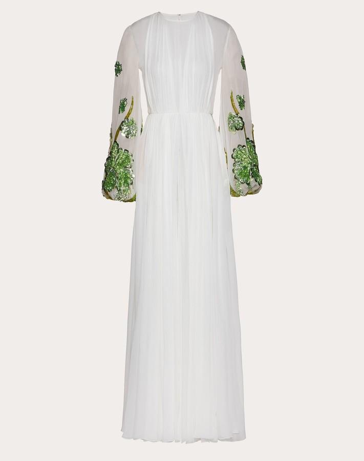 Valentino Chiffon Creponne Evening Dress Women Ivory Silk 100% 48