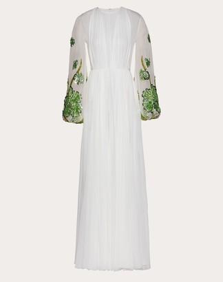 Valentino Chiffon Creponne Evening Dress Women Ivory Silk 100% 46