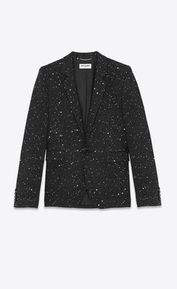 Saint Laurent Blazer Jacket Sequin-embroidered Tailored Jacket In Twill Boucle Black 34