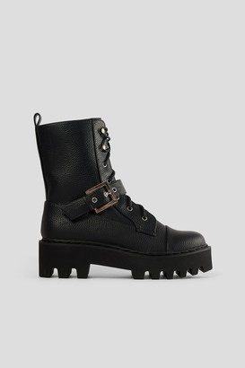 NA-KD Buckled Combat Boots