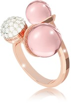 Rebecca Boulevard Stone Rose Gold Over Bronze Ring w/ Hydrothermal Pink Stones and Cubic Zirconia