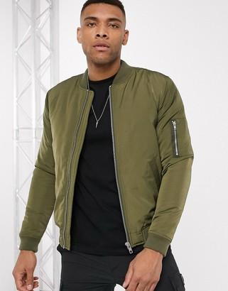 ASOS DESIGN ma1 padded bomber jacket in khaki