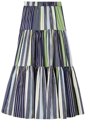 Tory Burch Striped Cotton Maxi Skirt