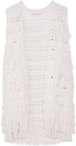 Alice + Olivia Weiss fringed open-knit silk-blend vest