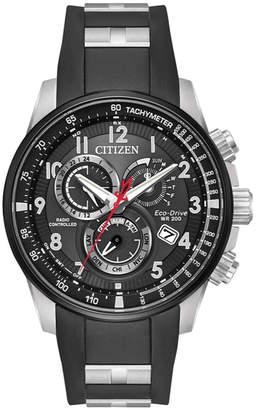 Citizen Men's 44mm Chronograph Watch w/ Rubber Strap, Black