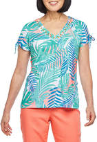 Hearts Of Palm Azure Thing-Womens V Neck Short Sleeve T-Shirt
