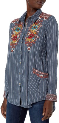 3J Workshop by Johnny Was Women's Cotton Pinstripe Smock Shirt with Embroidery