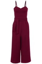 Quiz Wine Crepe Tie Belt Culotte Jumpsuit