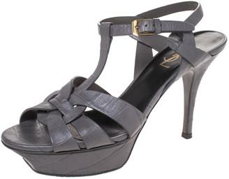 Saint Laurent Paris Grey Croc Embossed Leather Tribute Platform Ankle Strap Sandals Size 37.5