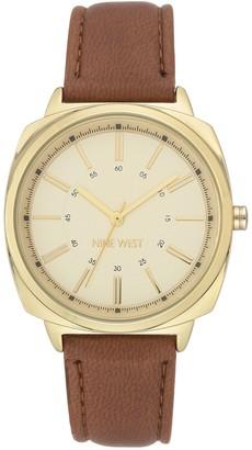 Nine West Women's Goldtone Dial Brown Strap Watch
