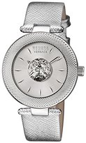 Versus By Versace Women's 'Bricklane' Quartz Stainless Steel and Leather Casual Watch, Color:Silver-Toned (Model: S21010016)