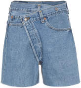 R 13 Crossover denim shorts with raw hem