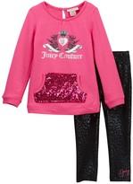 Juicy Couture Scottie Logo Sequin Kangaroo Pocket Tunic & Leopard Print Leggings Set (Toddler Girls)