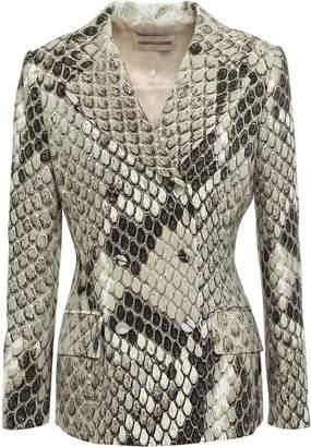 Roberto Cavalli Double-breasted Snake-print Cady Blazer