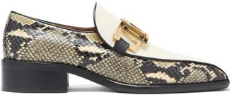 Marni Linked Snake & Croc-effect Leather Loafers - White