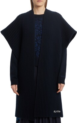 Valentino Oversize Embroidered Wool & Cashmere Poncho Sweater