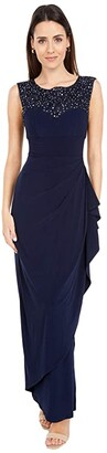 Alex Evenings Long Cap Sleeve Dress with Embellished Embroidered Neckline (Navy) Women's Dress