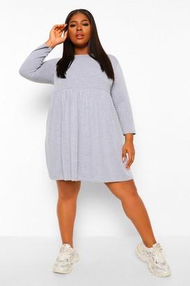 boohoo Plus Basic Long Sleeve Smock Dress