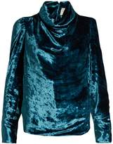 Maison Margiela Cowl-neck velvet top