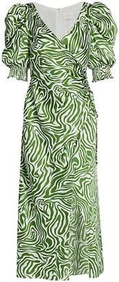 Cinq à Sept Kacy Zebra Print Puff-Sleeve Wrap Sheath Dress