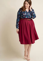 ModCloth Breathtaking Tiger Lilies Midi Skirt in Merlot in S - Full Skirt Long