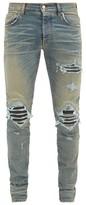 Amiri - Mx1 Distressed Leather Panel Slim Leg Jeans - Mens - Indigo