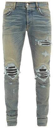 Amiri Mx1 Distressed Leather-panel Slim-leg Jeans - Mens - Indigo
