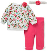 Little Me Baby Girls' 3-Pc. Headband, Rose-Print Sweatshirt & Leggings Set