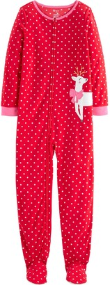 Carter's Girls 4-14 1-Piece Christmas Fleece Footie PJs