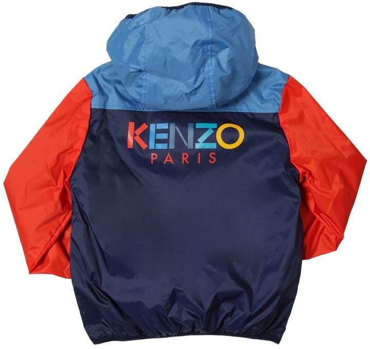 Kenzo Hooded Nylon Jacket W/ Fleece Lining
