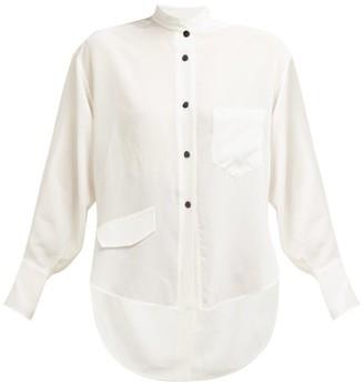 Petar Petrov Back Slit Silk Crepe Shirt - Womens - White