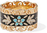 Gucci Icon 18-karat Gold And Enamel Ring