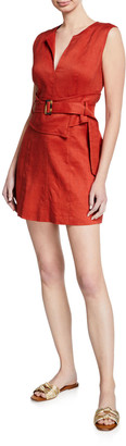 Veronica Beard Sadira Linen-Blend V-Neck Short Dress