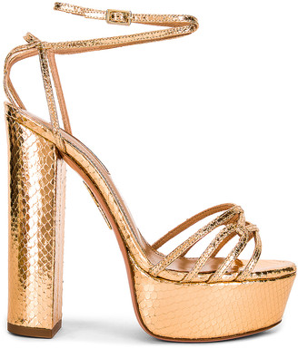 Aquazzura First Kiss 140 Plateau Sandal in Gold | FWRD