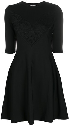 Valentino Lace-Trimmed Flared Dress