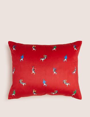 Marks and Spencer Velvet Skating Penguin Small Cushion