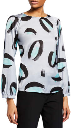 Emporio Armani Bracelet-Sleeve Brushstroke-Print Silk Blouse
