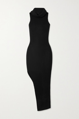 Rick Owens Draped Ribbed Wool Midi Dress - Black