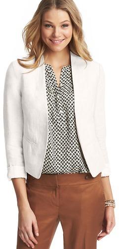 LOFT Collarless Linen Jacket