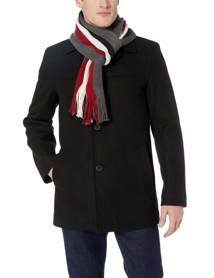 Wool Melton Walking Coat, Tommy Hilfiger Peacoat With Scarf