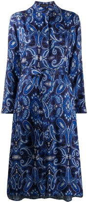 Etro Paisley-Print Tie Shirt Dress
