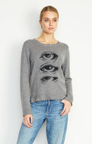 Nicole Miller Printed Cashmere Eyes Sweater