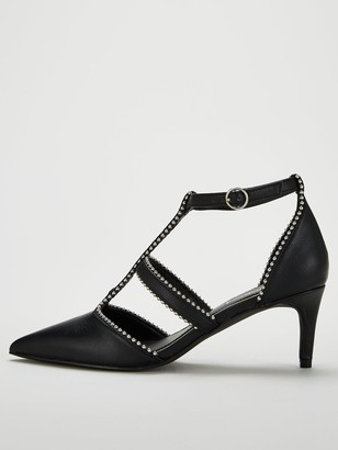 Very Dixie Studded Mid Heel Point Court Shoe - Black