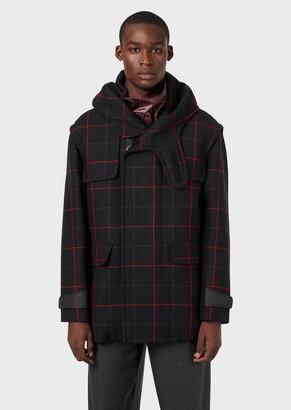 Emporio Armani Plaid Wool Pea Coat With Shawl Hood