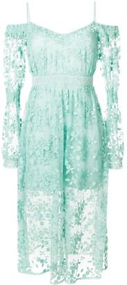 Three floor Geneva cold shoulder dress