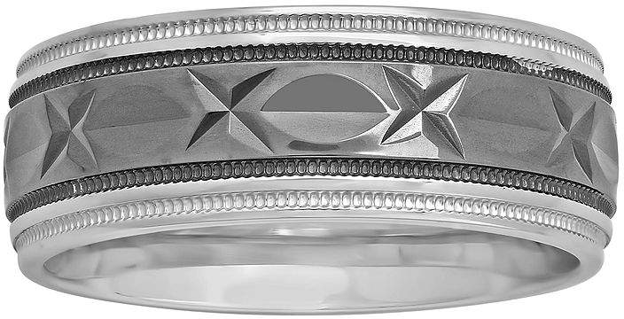JCPenney FINE JEWELRY Mens 8mm Comfort Fit Diamond-Cut Two-Tone Sterling Silver Ring