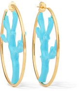 Aurelie Bidermann Capri Gold-plated Resin Hoops - Turquoise